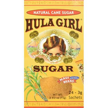 Hula Girl Sugar Maui Brand Natural Sugar Cane 24 Sachets From Hawaii