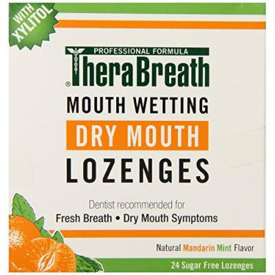 TheraBreath Dentist Recommended Dry Mouth Lozenges, Sugar Free, Mandarin Mint Flavor, 24 Count Pack of 3