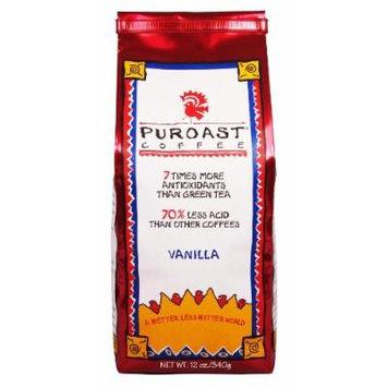 Puroast Low Acid Coffee Vanilla Flavored Coffee Whole Bean, 0.75-Pound Bag (Pack of 2)