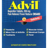 Advil Tablets Pain Reliever Refill, 50 Two-Packs per Box(Pack of 4)