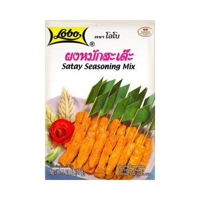 Lobo Satay Seasoning Mix Paste for Thai Food BBQ Chicken Pork Beef 3.5 oz / 100g, (Pack of 6)