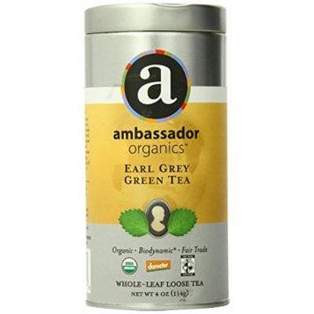 Ambassador Organics Biodynamic Earl Grey Green Tea, Whole-leaf Loose, 4 Ounce Tins (Pack of 2)