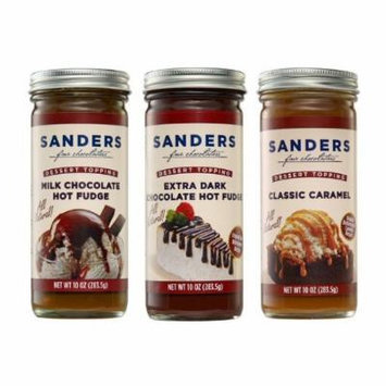 Sanders Assortment Milk Chocolate Hot Fudge, Classic Caramel and Extra Dark Chocolate Hot Fudge Dessert Topping 10 Oz (Pack of 3)