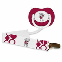 NCAA Officially Licensed Orthodontic Pacifier With Clip (Alabama Crimson Tide)
