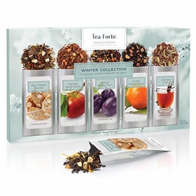 Tea Forté WINTER COLLECTION Single Steeps Loose Leaf Tea Sampler, 15 Single Serve Pouches - Seasonal Black Tea & Herbal Tea
