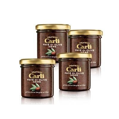Carli Black Olive Tapenade. Four 130 Gram (4.6 oz.) jars.