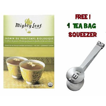 Mighty Leaf Tea , Organic Green Spring Jasmine ,(With FREE Tea Bag Squeezer) (1 Pack)