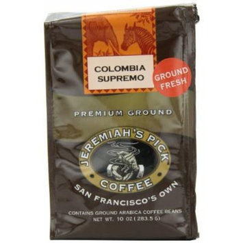 Jeremiah's Pick Coffee Colombia Supremo Ground Coffee, 10-Ounce Bags (Pack of 3)