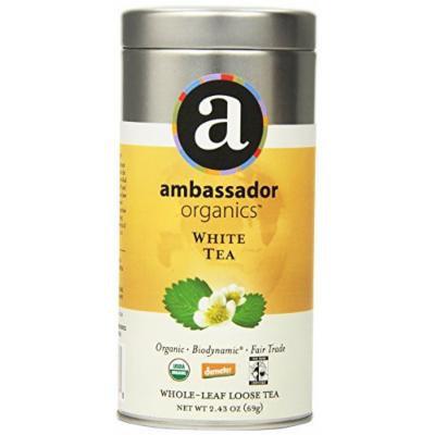 Ambassador Organics Biodynamic White Tea, Whole-leaf Loose, 2.43 Ounce Tins (Pack of 2)