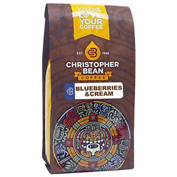 Christopher Bean Coffee Flavored Ground Coffee, Blueberries and Cream, 12 Ounce