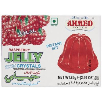 AHMED Halal Jello Vegetarian Crystal Jelly, Raspberry, 85 Gram (Pack of 12)