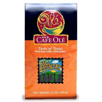 HEB Cafe Ole Taste of Texas Whole Bean Coffee 12oz Bag (Pack of 3) (Taste of The Hill Country Medium Roast - Vanilla and Cinnamon)