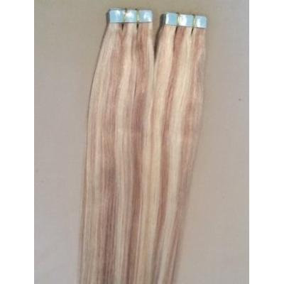 20 inches 100grs,40pcs, 100% Highlighted Human Tape In Hair Extensions #18/613 Dark Blonde with Platinum Blonde