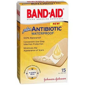 Band-Aid Adhesive Bandages Plus Antibiotic, 15 Count