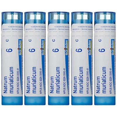 Boiron Homeopathic Medicine Natrum Muriaticum, 6C Pellets, 80-Count Tubes (Pack of 5)