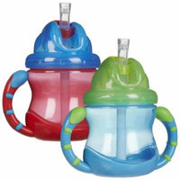 Nuby 2 Handle Flip n' Sip Straw Cup, 8 Ounce - 2 Pack, Blue/Red