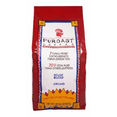 Puroast Low Acid Coffee Organic House Blend Drip Grind, 2.5 Pound Bag