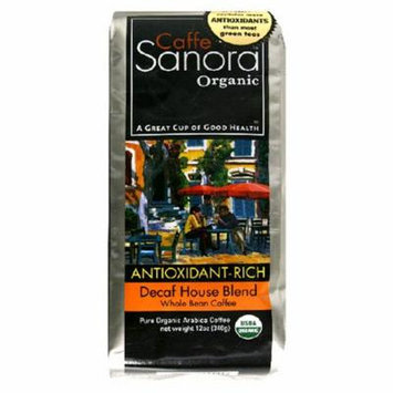 Caffe Sanora Organic Antioxidant-Rich, Decaf House Blend Whole Bean Coffee, 9-Ounce Bags (Pack of 2)