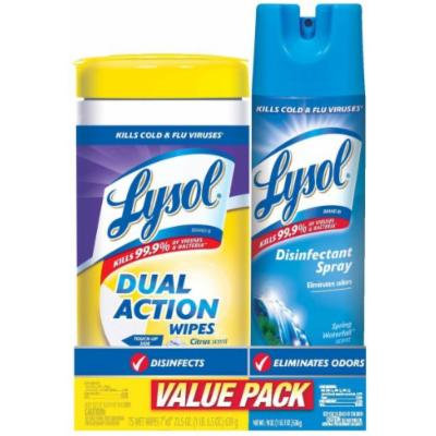Lysol Value Pack with Lysol Dual Action Disinfecting Wipes and Lysol Disinfectant Spray, Cirtus and Spring Waterfall, 2 Count