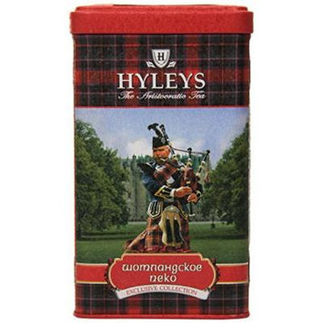Hyleys Tea Scottish Pekoe Loose Black Tea, 4.4-Ounce Tin (Pack of 4)
