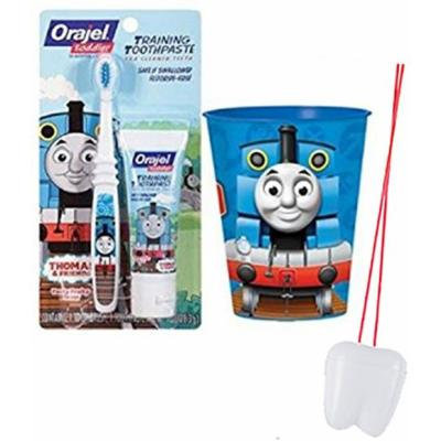 Thomas the Train 3pc Toddler Training Oral Hygiene Set! (1) Thomas the Tank Engine Soft Manual Toothbrush, Tooty Fruity Toothpaste & Mouthwash Rinse Cup! Plus Bonus