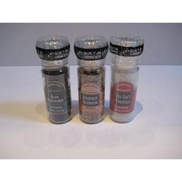 Trader Joe's Gourmet Set with Built in Grinder Combo: Black Peppercorns 1.8 Oz & Everyday Seasoning 2.3 Oz & Sea Salt Crystals 3.3 Oz Bundle