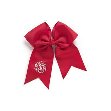Personalized Hair Bow, Red, font:master circle initials, color:white