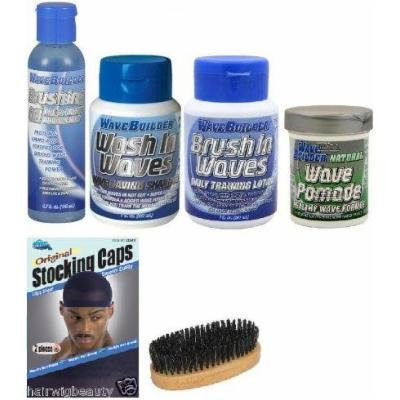 WaveBuilder Men's Wave Starter Set (Brushing Oil, Wave Pomade, Wash In Waves, Brush In Waves) Includes Free Stocking cap and Palm Brush!!! INCLUDES FREE 7.5oz AFRICAN PRIDE MIRACLE MOISTURIZING STYLING GEL.