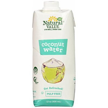 Natural Value Coconut Water, Pulp Free, 17 Ounce (Pack of 12)