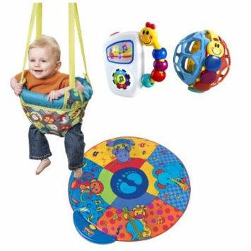Evenflo Johnny Jump Up Doorway Jumper with Musical Mat & Baby Einstein Activity Toys