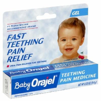 Baby Orajel Teething Pain Medicine, Gel, Cherry Flavor 0.33 Oz / 9.4 G (Pack of 3)
