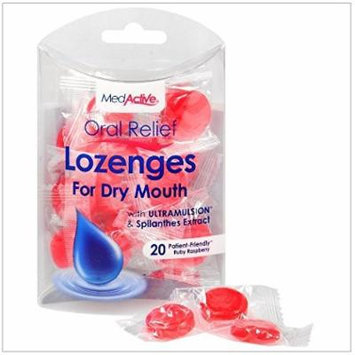 MedActive® Oral Relief Lozenges - Ruby Raspberry - 20 Count Pack of 3