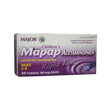 [3 PACK] CHILDREN'S MAPAP® ACETAMINOPHEN 80MG RAPID DISSOLVE TABS® GRAPE FLAVOR FOR CHILDREN AGES 2 TO 6 (30 CT.) *COMPARE TO THE SAME ACTIVE INGREDIENTS IN CHILDREN'S TYLENOL® MELTAWAYS® & SAVE!!*