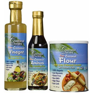 Coconut Secret Coconut Flour, Vinegar and Aminos 3 Piece Set