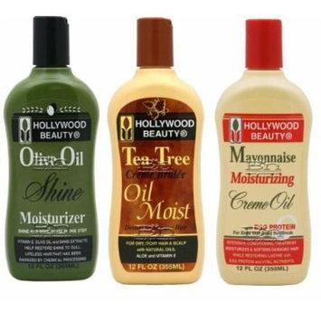 Hollywood Beauty 3pcs Hair treatment set (Tea Tree Creme Brulee, Olive Oil) Plus 1 Free pencil