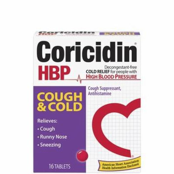 Coricidin HBP Cough & Cold Tablets-16 ct. (Pack of 5)