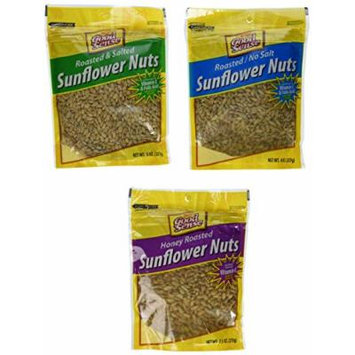 Good Sense Roasted and Salted, Roasted/No Salt & Honey Roasted Sunflower Nuts Combination (3)8oz Bags