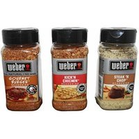 Weber All Natural Seasoning Blend 3 Flavor Variety Bundle: (1) Weber Gourmet Burger Seasoning Blend, (1) Weber Steak 'N Chop Seasoning Blend, and (1) Weber Kick'N Chicken Seasoning Blend 7.25-8.5 oz each