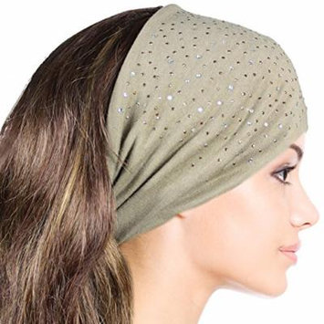 Sparkling Rhinestone and Dots Wide Elastic Headband - Tan