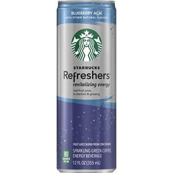 Starbucks Refreshers, Blueberry Acai, 12 Ounce Sleek Cans (Pack of 12)