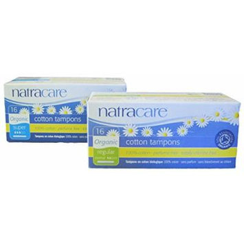 Natracare - Regular and Super Cotton Tampons with Applicator - Bundle of 2 Sizes