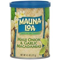 Mauna Loa Maui Onion & Garlic Macadamia Nuts 6 Pack 4.5oz Cans and and 1 Tube of Gardenia Moisturizing Lotion, and 1 Bar of Noni Facial soap
