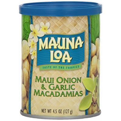 Mauna Loa Maui Onion & Garlic Macadamia Nuts 6 Pack 4.5oz Cans and and 1 Tube of Gardenia Moisturizing Lotion, and 1 Bar of Noni Facial soap