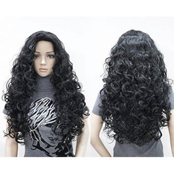 OneDor Fashion Long Hair Natural Curly Wavy Full Head Wigs Cosplay Costume Party Hairpiece (2#-Darkest Brown)