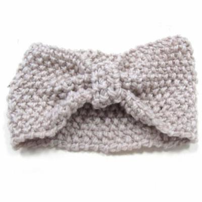 Crochet Flower Bow Knitted Headwrap Headband Ear Warmer Hair Muffs Band Winter (Beige)
