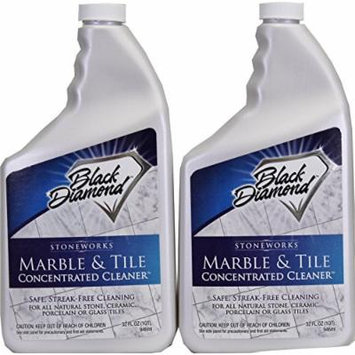 Black Diamond Marble & Tile Floor Cleaner. Set of 2 Great for Ceramic, Porcelain, Granite, Natural Stone, Vinyl & Linoleum . No-rinse Concentrate 32oz
