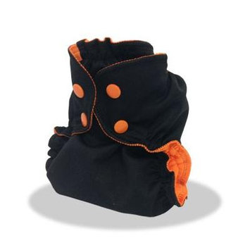 Cloth Diaper Cover - Breathable, Waterproof Cover Sewn to a Soft Microfleece Inner Layer in Halloween Colors By Applecheeks Size 1, Boo (Black with Orange))