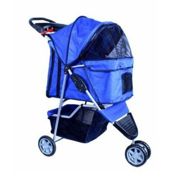 New Deluxe Folding 3 Wheel Pet Stroller Dog Cat Carrier w Cup Holder Tray -Blue