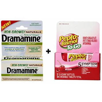 Travel Sickness 2 Pack: Pepto To-Go 24 count + Natural Dramamine Ginger Caps 18 Count