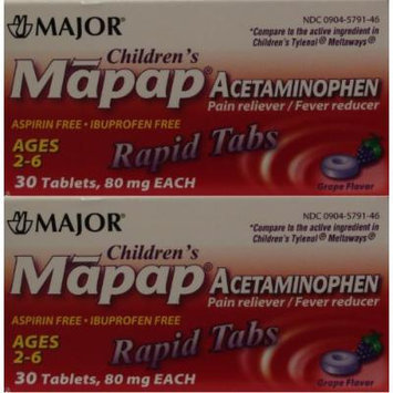 Children's Pain Reliever Acetaminophen 80 mg Ages 2-6 Generic for Tylenol Chewable Grape Flavor 30 Tabs per Box PACK osf 2 Total 60 Tablets